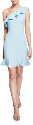 Aidan Mattox One-Shoulder Sleeveless Crepe Ruffle Dress