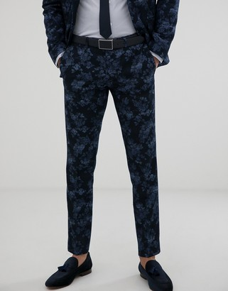 Moss Bros slim fit suit pants with floral print in navy-Blue