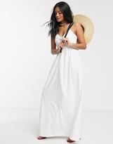 Asos Design DESIGN cami bow front maxi sundress in white