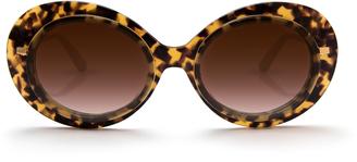 Krewe Iris Tortoise Blonde Round Acetate and Metal Sunglasses