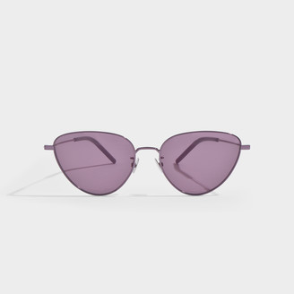 Saint Laurent Sunglasses In Pink Metal With Pink Lenses