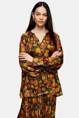 Topshop Womens **Orange Floral Smock Top By Orange