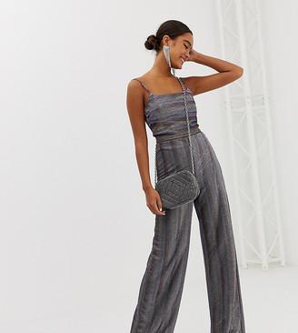 Miss Selfridge wide leg trousers in metallic stripe-Multi