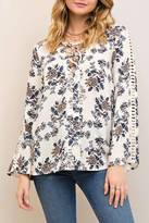 Entro Floral Lace Up V Neck Blouse