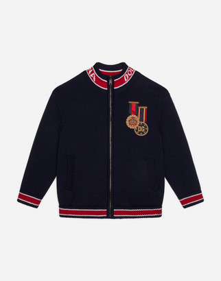 Dolce & Gabbana Wool Cardigan With Jacquard Logo And Medal Patch