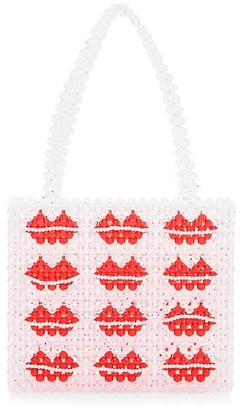 Susan Alexandra Lips Beaded Tote