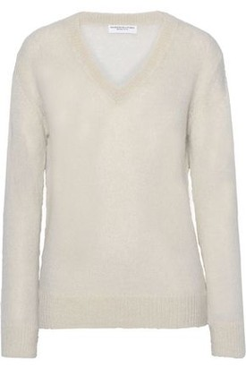 Majestic Filatures Brushed Crochet-knit Sweater