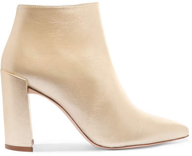 Stuart Weitzman Pure Metallic Leather Ankle Boots - Matte gold