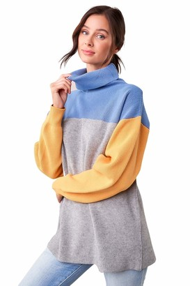 Sugar Lips Sugarlips Women's Color Block Turtle Neck Sweater
