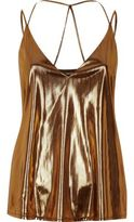 River Island Womens Metallic brown strappy cami top