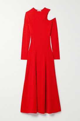 Ninety Percent Net Sustain Cutout Stretch-tencel Jersey Midi Dress - Red