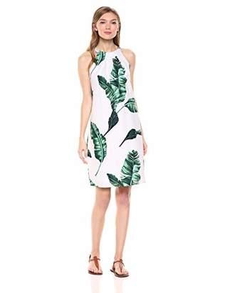 28 Palms womens 100% Linen Halter Hawaiian Print Shift Dress Solid 100% Linen Halter Hawaiian Print Shift Dress Sleeveless Casual Dress,XL