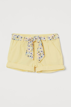 H&M Belted Cotton Shorts - Yellow