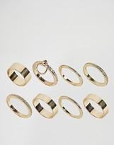 Asos Pack Of 8 Sleek Hoop Ring Pack