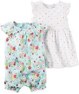Carter's 2-Pc. Dot-Print Dress & Floral-Print Romper Set, Baby Girls (0-24 months)