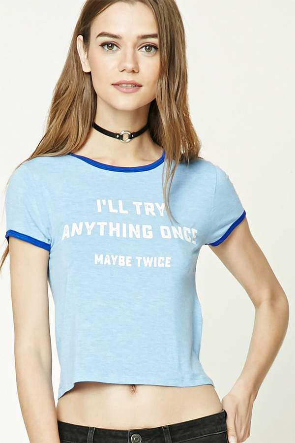 Forever 21 Try Anything Graphic Ringer Tee
