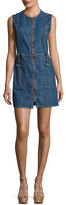 See by Chloe Jewel-Neck Zip-Front Denim Dress, Indigo