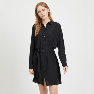 Vila Short Shirt Dress with Tie-Waist