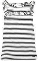 Chloé Striped Cotton Jersey Dress W/ Ruffles