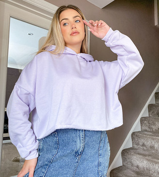 ASOS DESIGN Curve tonal co-ord cropped oversized hoodie in lilac
