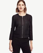 Ann Taylor Petite Tweed Zip Jacket