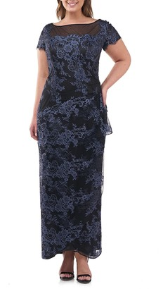JS Collections Floral Lace Ruffle Gown