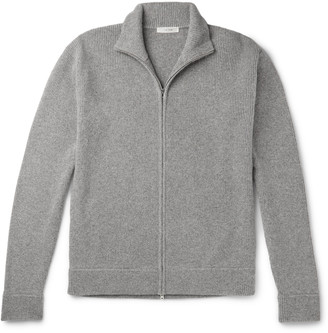 The Row Aaron Ribbed Melange Cashmere Zip-Up Cardigan