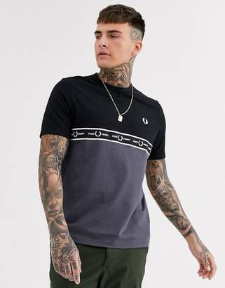 Fred Perry chest taped cut and sew t-shirt in grey