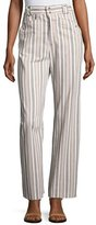 Isabel Marant Striped Cotton Cargo Pants, pale Pink/Ecru