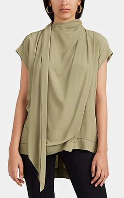 Proenza Schouler Women's Draped Crepe Tie-Neck Blouse - Khaki