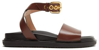 Marni Ankle-strap Leather Sandals - Womens - Brown