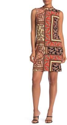 Sharagano Paisley Mock Neck Sleeveless Sheath Dress