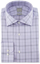 Ike Behar Large Windowpane-Check Woven Dress Shirt, Lavender/Navy