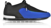 Balmain Doda Black Leather and Blue Quilted Neoprene Sneaker