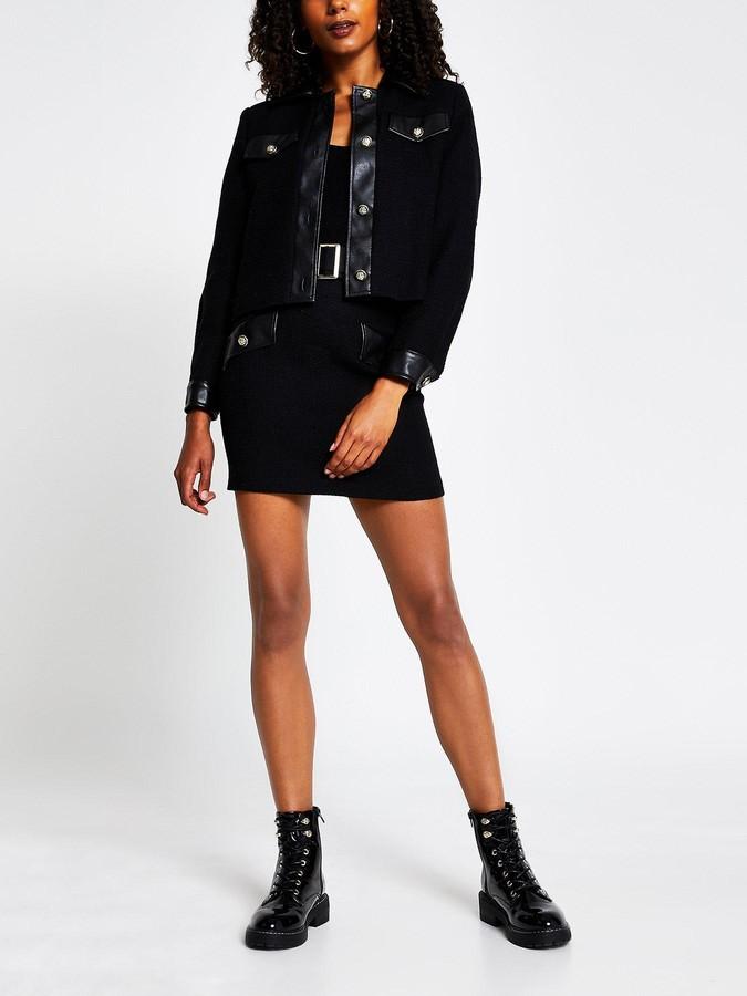 River Island Pu Trim Boucle Mini Skirt - Black