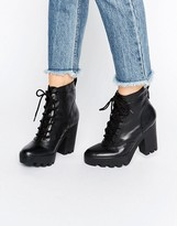 Lace Up Chunky Heel Boots - ShopStyle