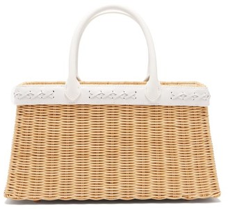Sparrows Weave - The Tote Small Wicker And Leather Basket Bag - Womens - White