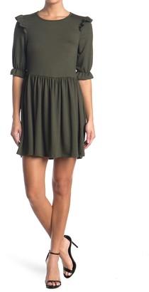 Velvet Torch Ribbed Ruffle Trim Mini Dress