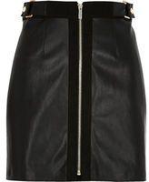 River Island Womens Black zip front a-line mini skirt