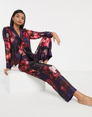 Ted Baker Splendour floral wide leg pyjama trousers in purple