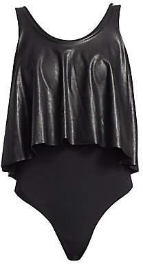 Commando Women's Loose Layer Faux Leather Bodysuit