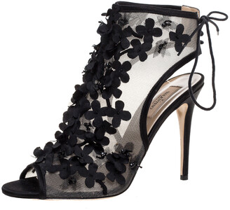Valentino Black Mesh And Satin Trims Flower Embellished Open Toe Ankle Booties Size 40