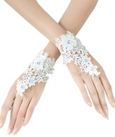 Sisjuly Women's Wrist Length Fingerless Glove Lace Bridal Party Gloves
