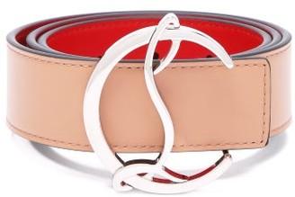 Christian Louboutin Monogram-buckle Leather Belt - Nude
