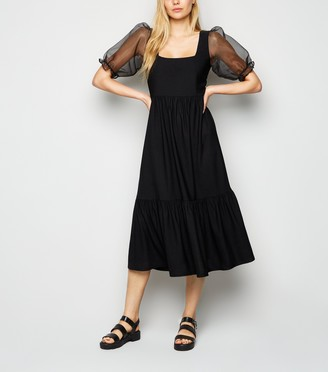 New Look Organza Puff Sleeve Midi Dress