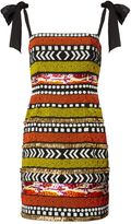 Matthew Williamson Orange & Black Tribal Beaded Dress