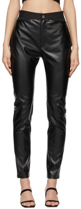 DRAE Black Faux-Leather Legging Trousers