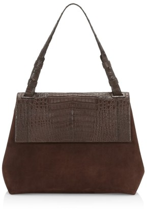Nancy Gonzalez Medium Sophie Crocodile-Trimmed Suede Satchel