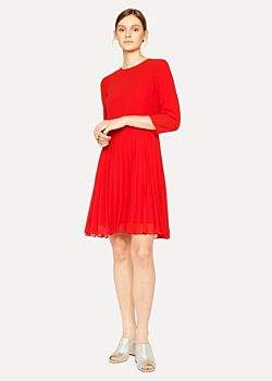 Paul Smith Women's Red Dress With Pleated Skirt