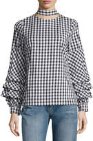 Brandon Thomas Check-Print Ruffle-Sleeve Blouse